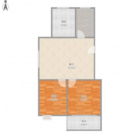 莘香雅苑2室1厅1卫1厨85.00㎡户型图