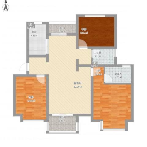 东郊小镇第三街区3室1厅2卫1厨129.00㎡户型图