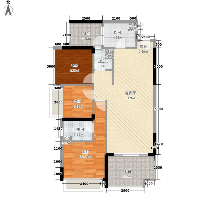珠江愉景南苑7.30㎡M户型3室2厅2卫1厨