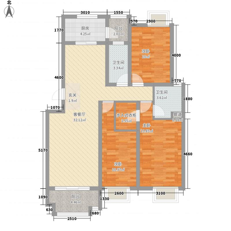 �泉湾126.37㎡D1-2户型3室2厅2卫1厨