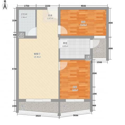 新世家小区2室1厅1卫1厨62.11㎡户型图