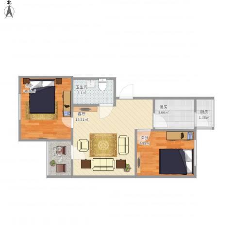 安慧北里秀园2室1厅1卫2厨60.00㎡户型图