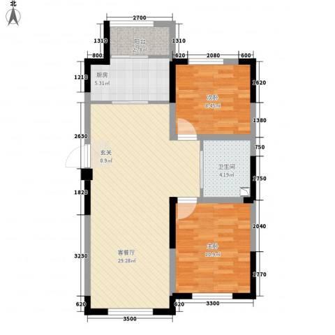 远创金泽锦城2室1厅1卫1厨87.00㎡户型图