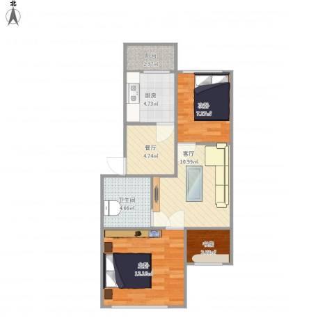 关爱小区3室2厅1卫1厨68.00㎡户型图