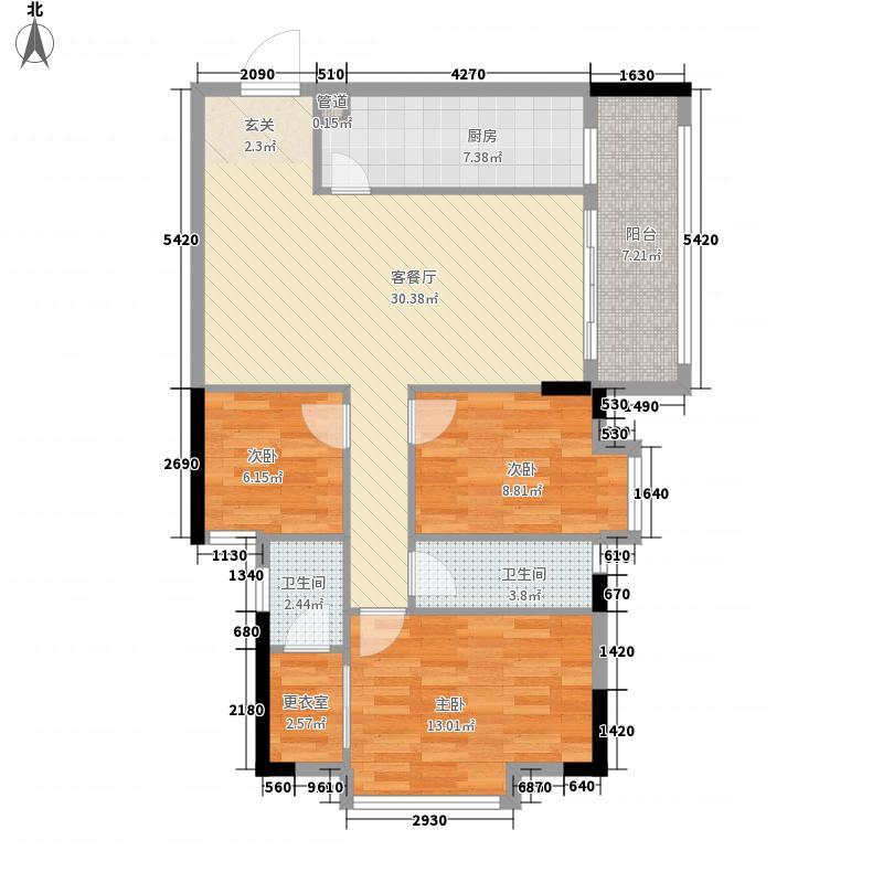 康盛南苑5.00㎡A4户型3室2厅2卫1厨