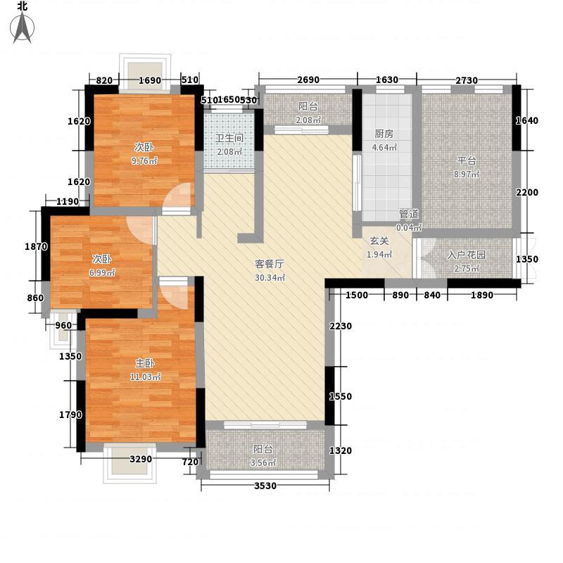 高速东方天地118.13㎡9、10#楼B3户型3室2厅1卫1厨