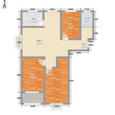 水印兰亭3室1厅1卫1厨121.00㎡户型图