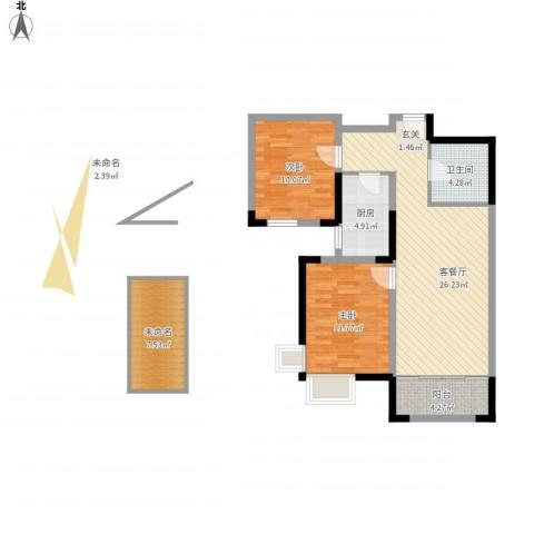 金厦龙第新城2室1厅1卫1厨98.00㎡户型图