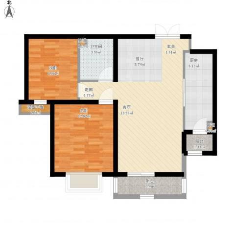 紫韵枫尚2室1厅1卫1厨93.00㎡户型图