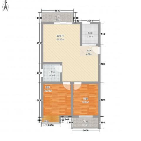 蒸阳御笔华章2室1厅1卫1厨88.00㎡户型图