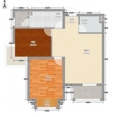 保利・香槟花园2室1厅1卫1厨93.00㎡户型图