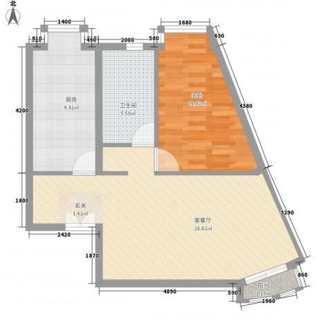 当代名筑1室1厅1卫1厨61.61㎡户型图