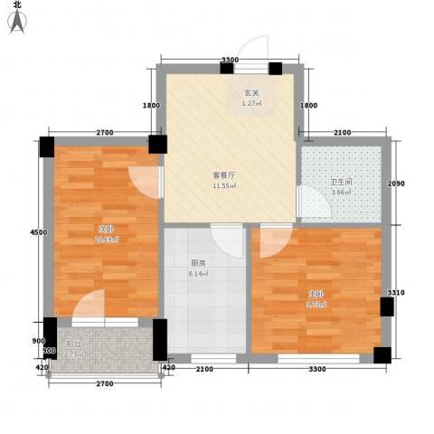 锦山秀城2室1厅1卫1厨64.00㎡户型图