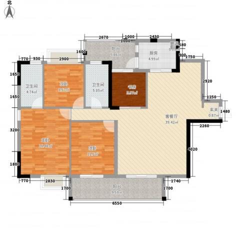 星湖八号4室1厅2卫1厨134.00㎡户型图