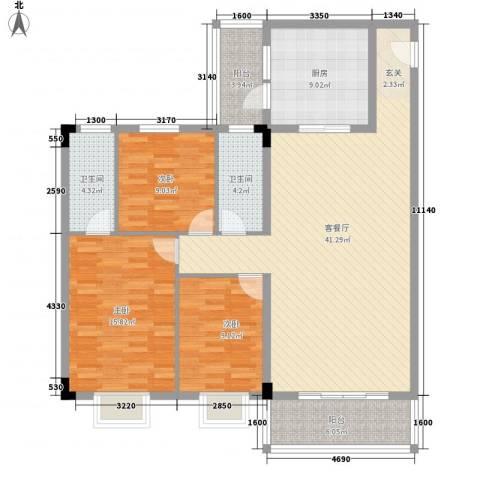 泰景花园3室1厅2卫1厨145.00㎡户型图