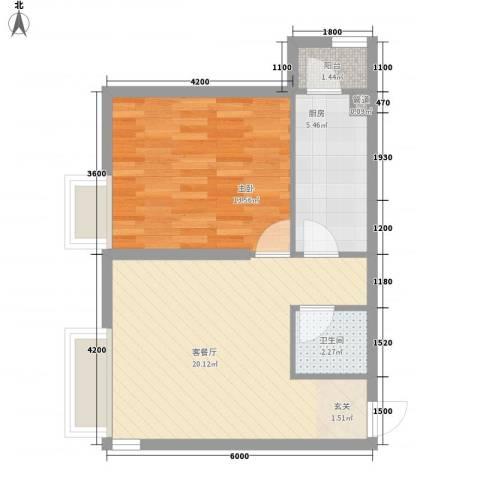 保利・香槟花园1室1厅1卫1厨61.00㎡户型图