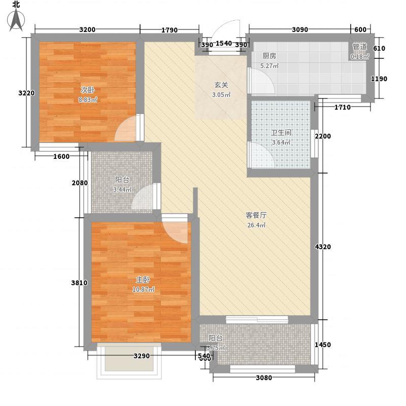 海亮熙园3.80㎡D户型2室2厅1卫1厨