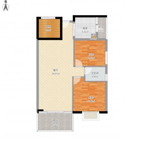 富力院士庭2室1厅1卫1厨113.00㎡户型图