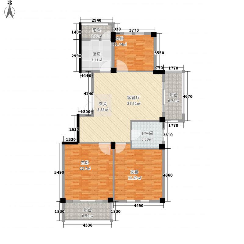 东一华庭173.00㎡跃层B一层户型5室3厅2卫1厨