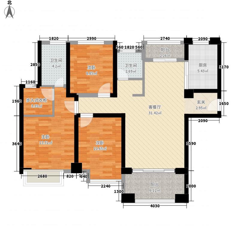 宝龙城市广场132.00㎡9#、10、11#楼户型3室2厅2卫1厨
