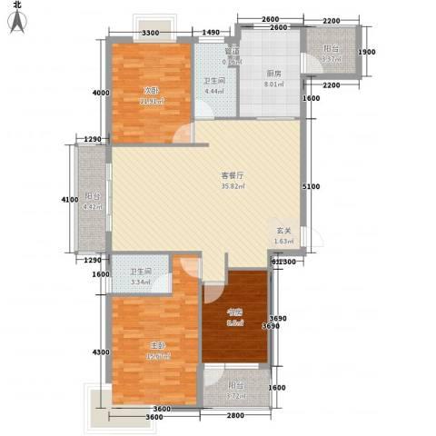 御天城腾龙郡3室1厅2卫1厨139.00㎡户型图