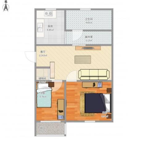 兴海苑2室2厅1卫1厨60.00㎡户型图