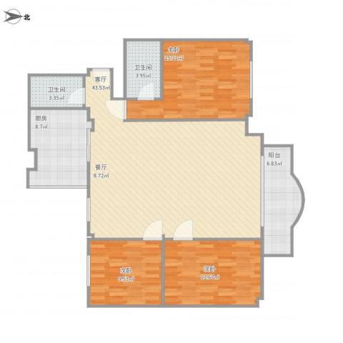 联丰商城3室1厅2卫1厨139.00㎡户型图