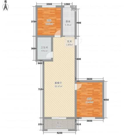 北方新天地2室1厅1卫1厨109.00㎡户型图