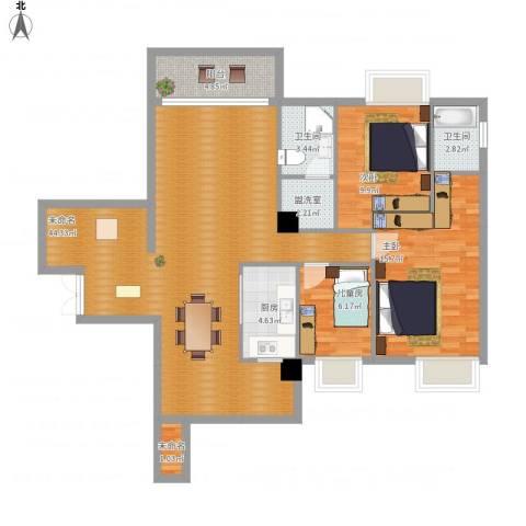 颐和山庄3室1厅2卫1厨134.00㎡户型图