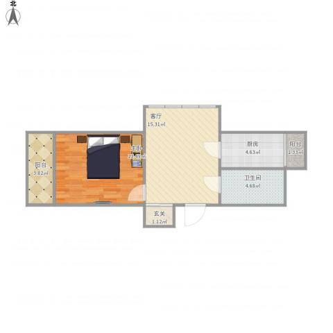 星苏花园1室1厅1卫1厨61.00㎡户型图