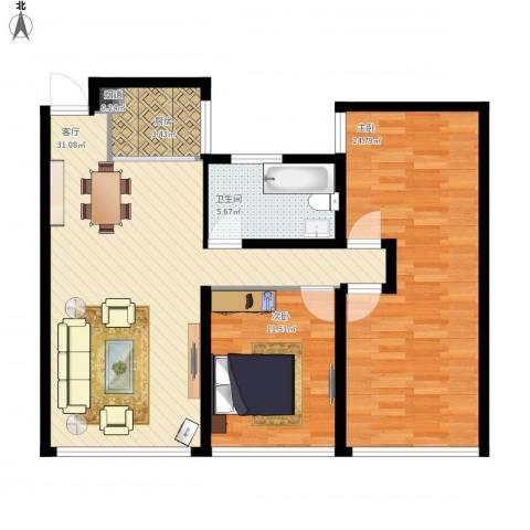 佳兆业・水岸新都2室1厅1卫1厨108.00㎡户型图
