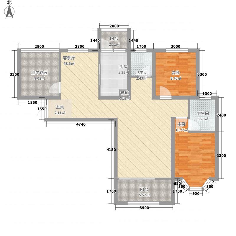 世茂龙湾18.00㎡71#C户型2室2厅2卫1厨