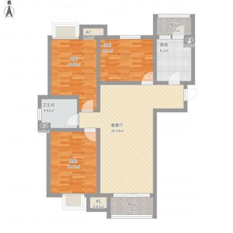 南奥国际3室1厅1卫1厨122.00㎡户型图