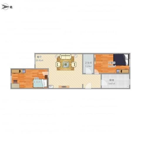 花家地南里2室1厅1卫1厨77.00㎡户型图
