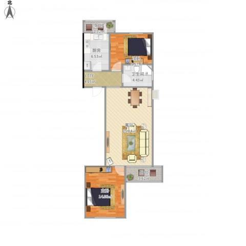 龙锦苑东一区2室1厅1卫1厨95.00㎡户型图