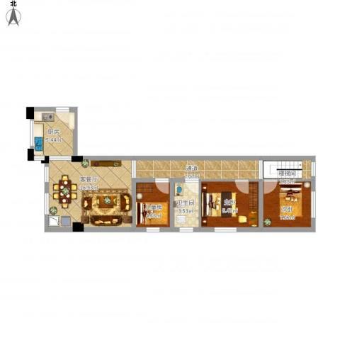 标美12683室1厅1卫1厨84.00㎡户型图