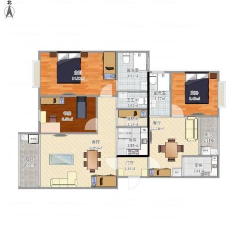 古北虹苑3室4厅1卫2厨125.00㎡户型图