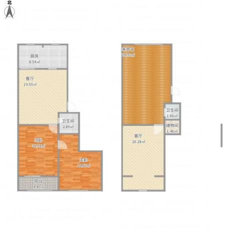 龙海公寓2室2厅2卫1厨156.00㎡户型图