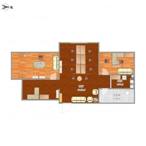 珑城花园2室1厅1卫1厨123.00㎡户型图