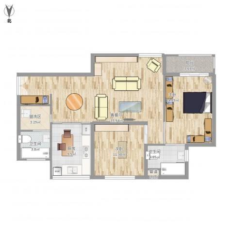 东方雅苑2室1厅2卫1厨124.00㎡户型图