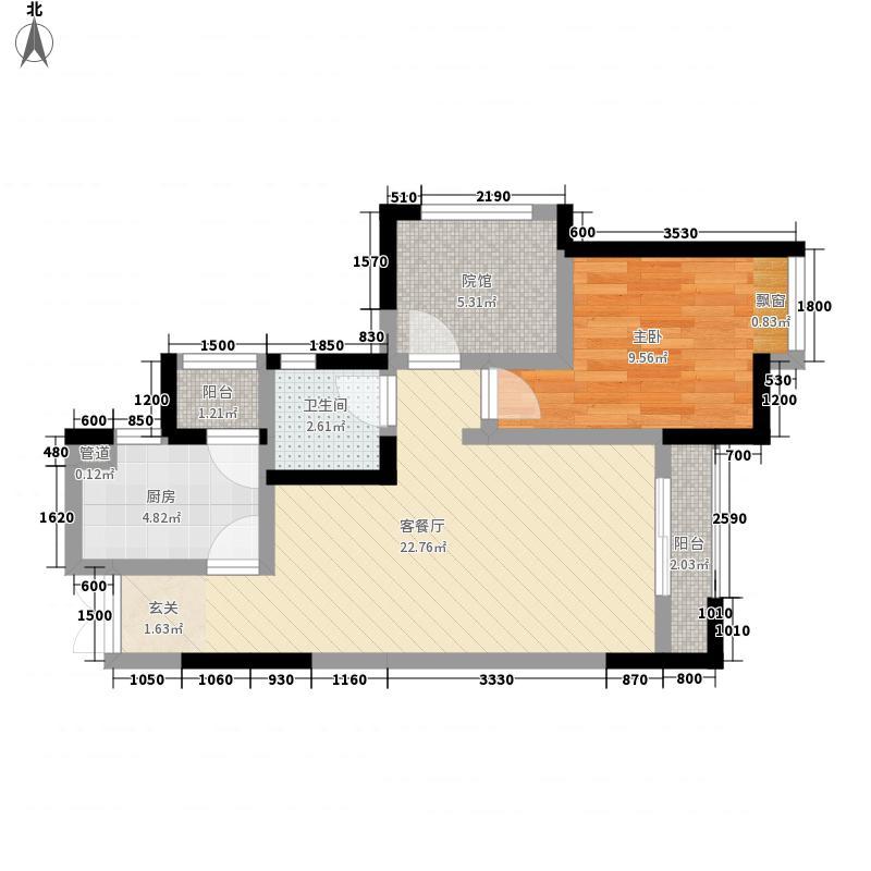 宏帆广场63.30㎡2幢5-33层7号房户型1室2厅1卫1厨