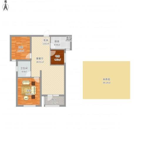 奥林清华御园3室1厅1卫1厨98.00㎡户型图