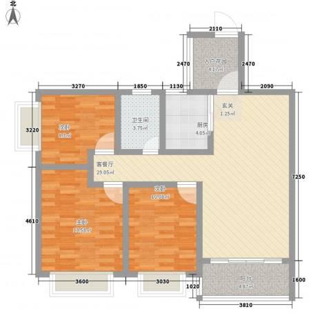 兴业花园3室1厅1卫1厨77.84㎡户型图