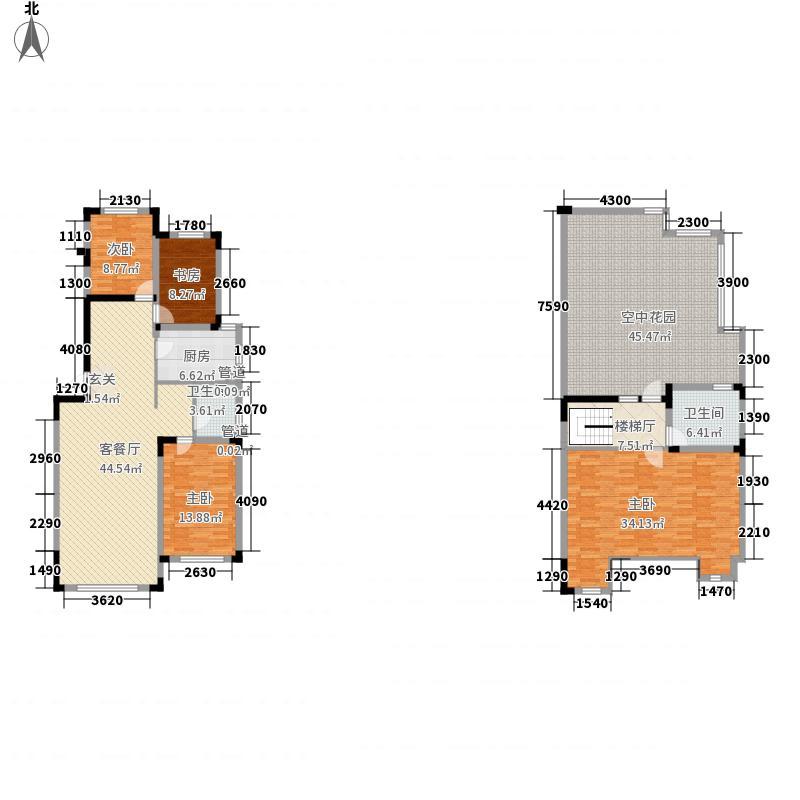 中海凯旋门166.00㎡跃层洋房B户型3室2厅2卫1厨
