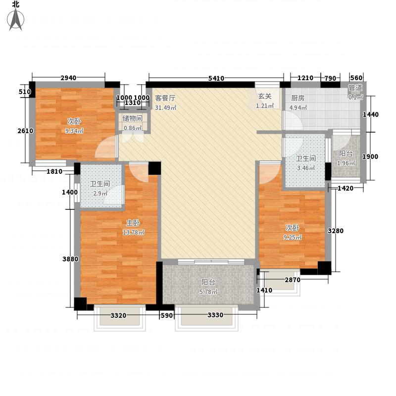 正大锦城1411.20㎡G14_08_户型3室2厅2卫1厨