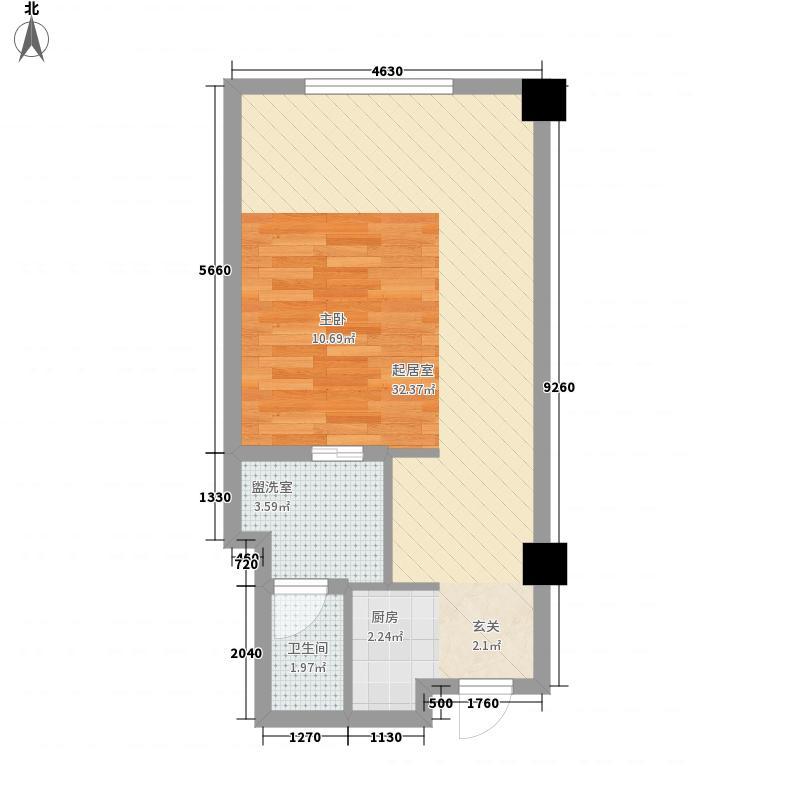盛天国际商业广场54.00㎡户型1室1厅1卫1厨