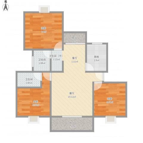 好日子大家园D区3室1厅2卫1厨62.00㎡户型图