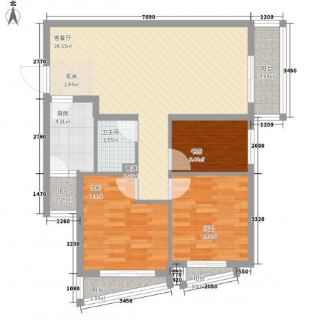 新世家小区3室1厅1卫1厨63.88㎡户型图