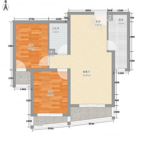 新世家小区2室1厅1卫1厨57.64㎡户型图
