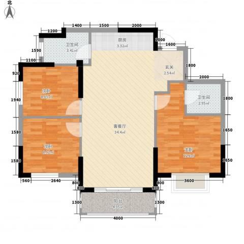 香格里拉花园二期3室1厅2卫0厨105.00㎡户型图